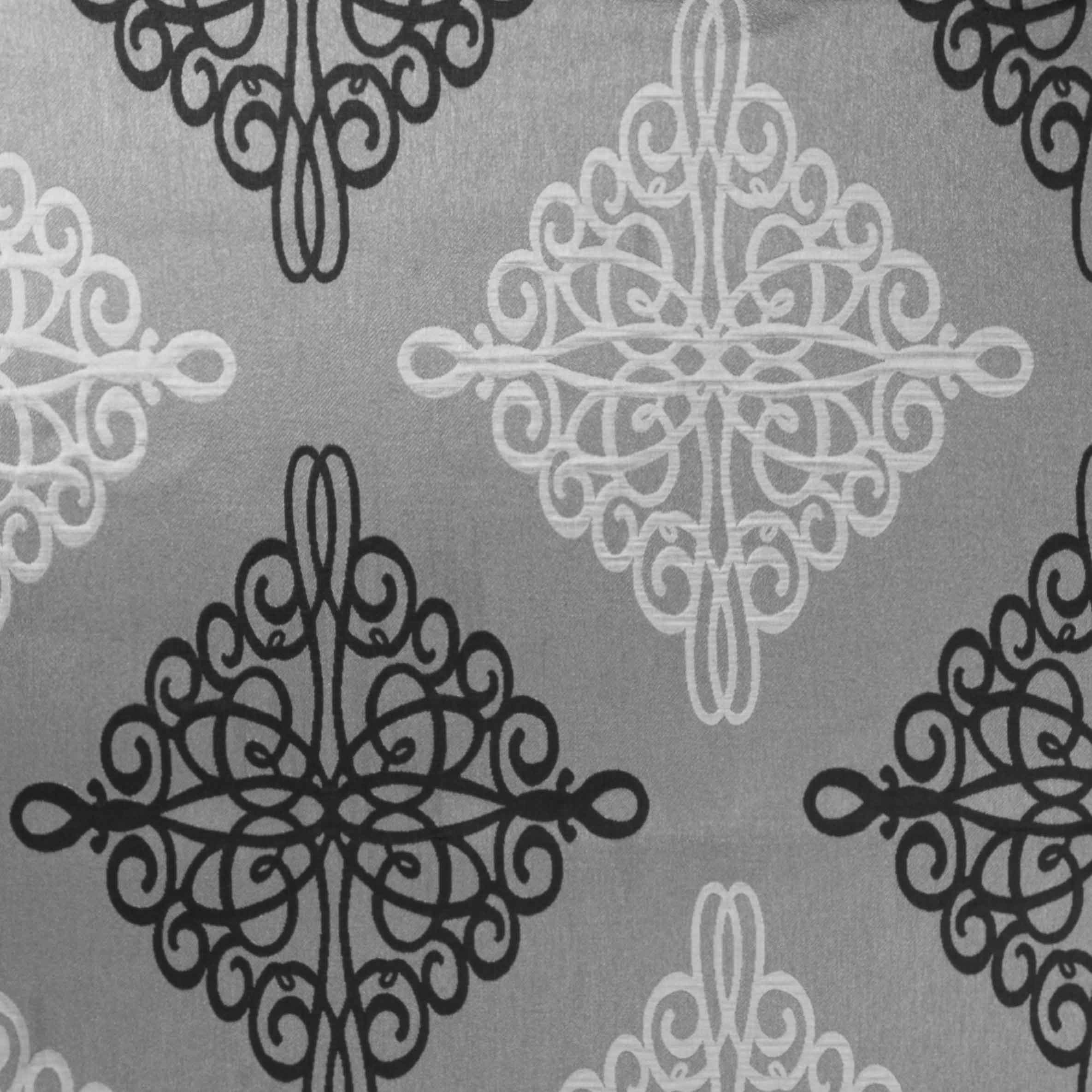 black and silver damask