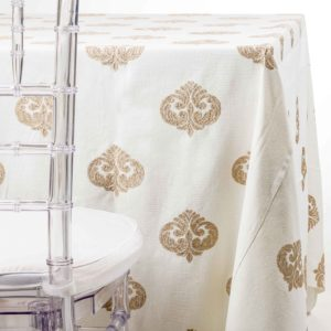 gold sparkle medallion Tablecloth rentals nj