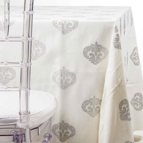Silver Sparkle Medallion tablecloth Rentals ni NJ