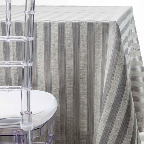 Silver on Silver Stripe Tablecloth Party Rentals