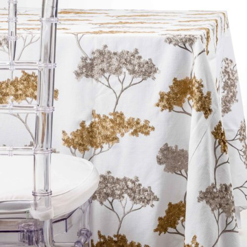 Gold and Silver Embroidered Trees Tablecloth Rentals.