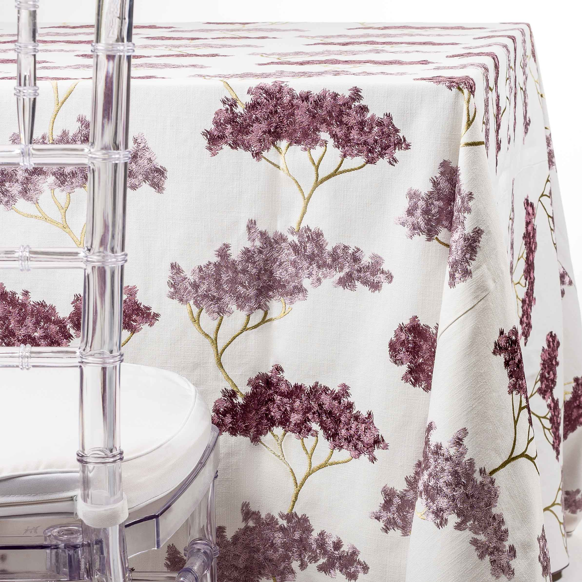 purple embroidered trees the table nj party rentals