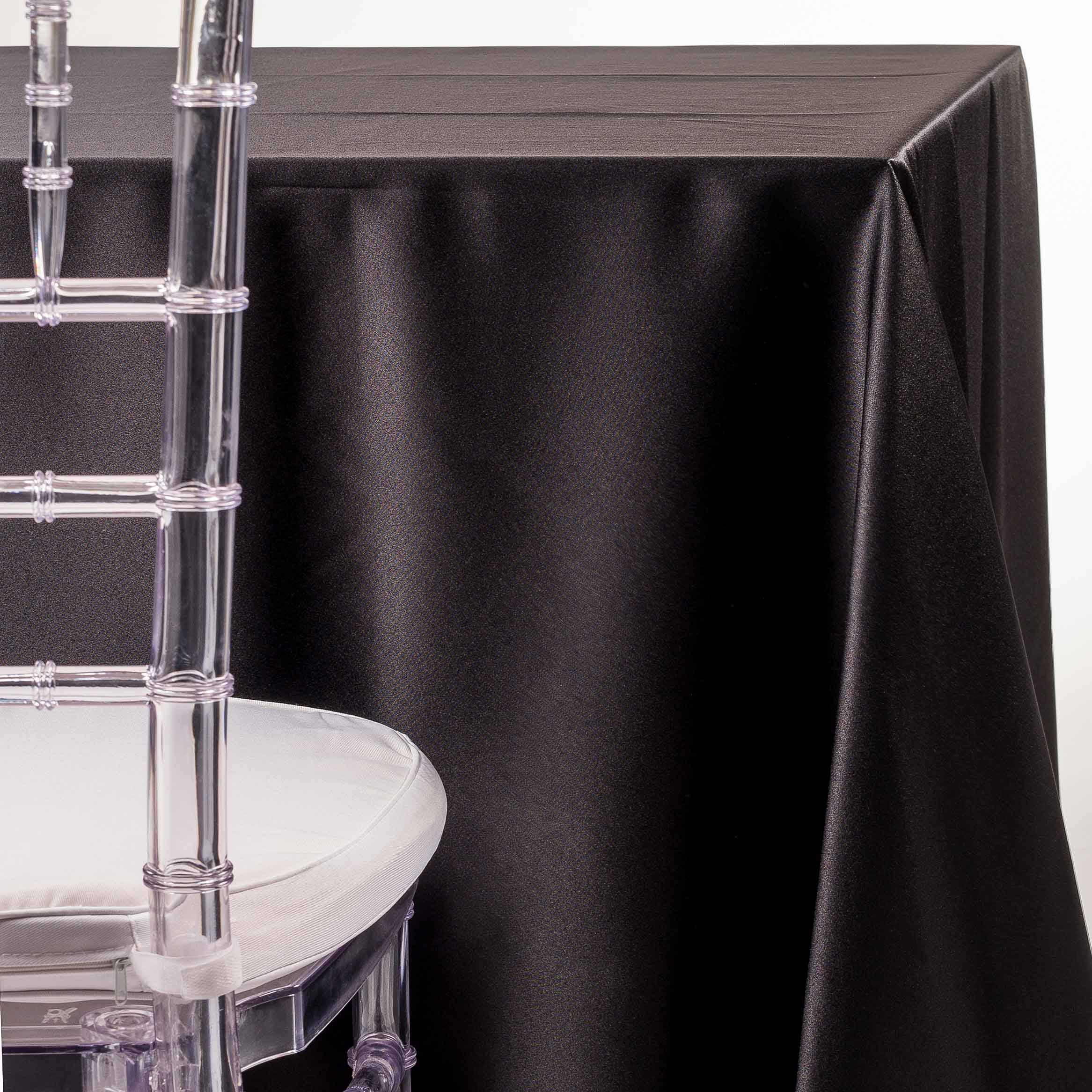 black satin Tablecloth for wedding and party rentals