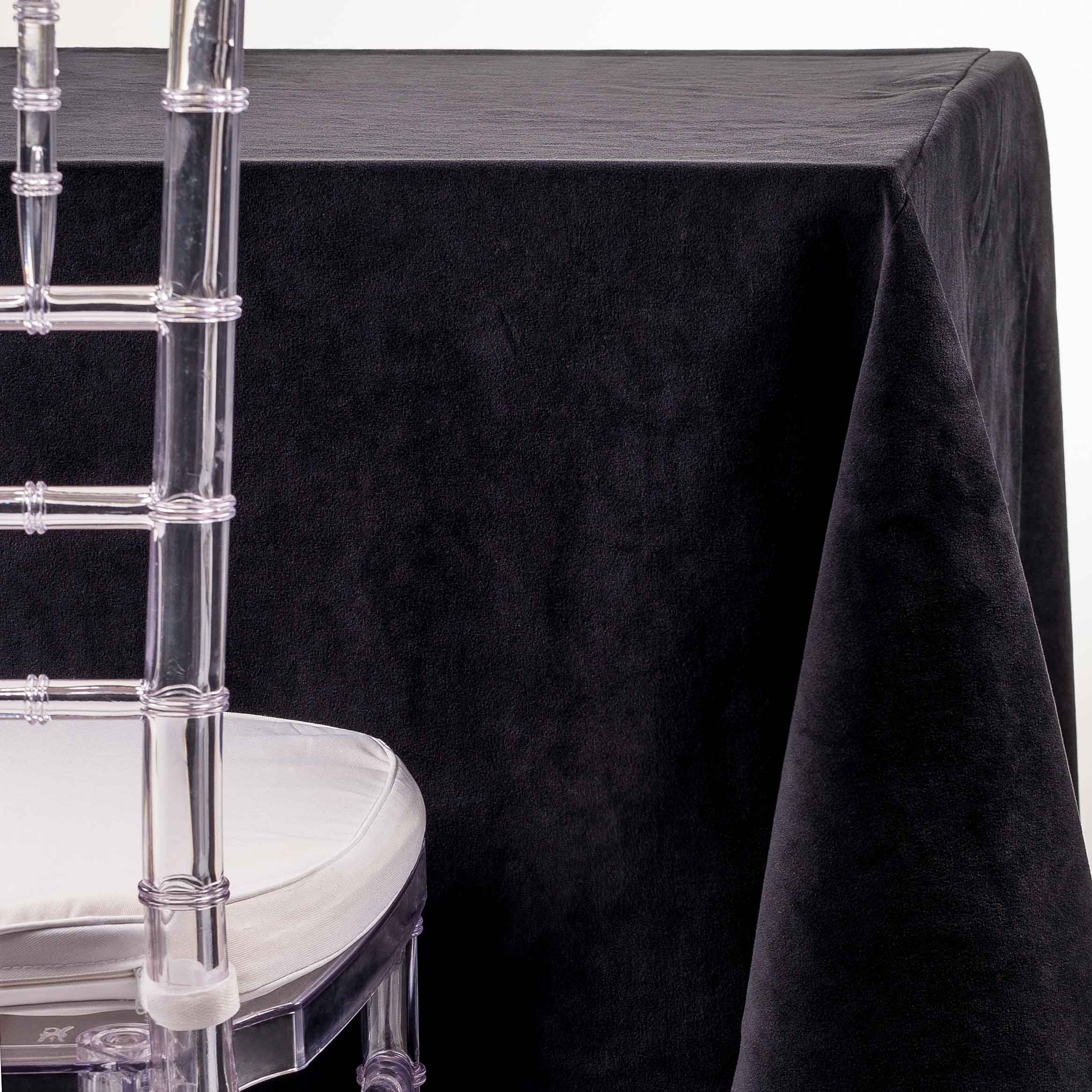 Beau Black Velvet Tablecloth Rentals For Wedding And Party In NJ