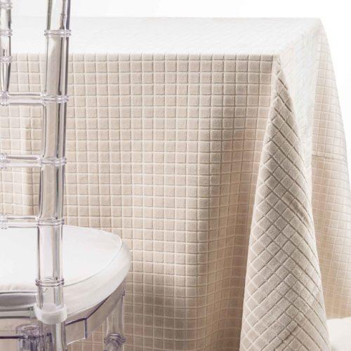 ivory velvet boxes tablecloth rental in nj