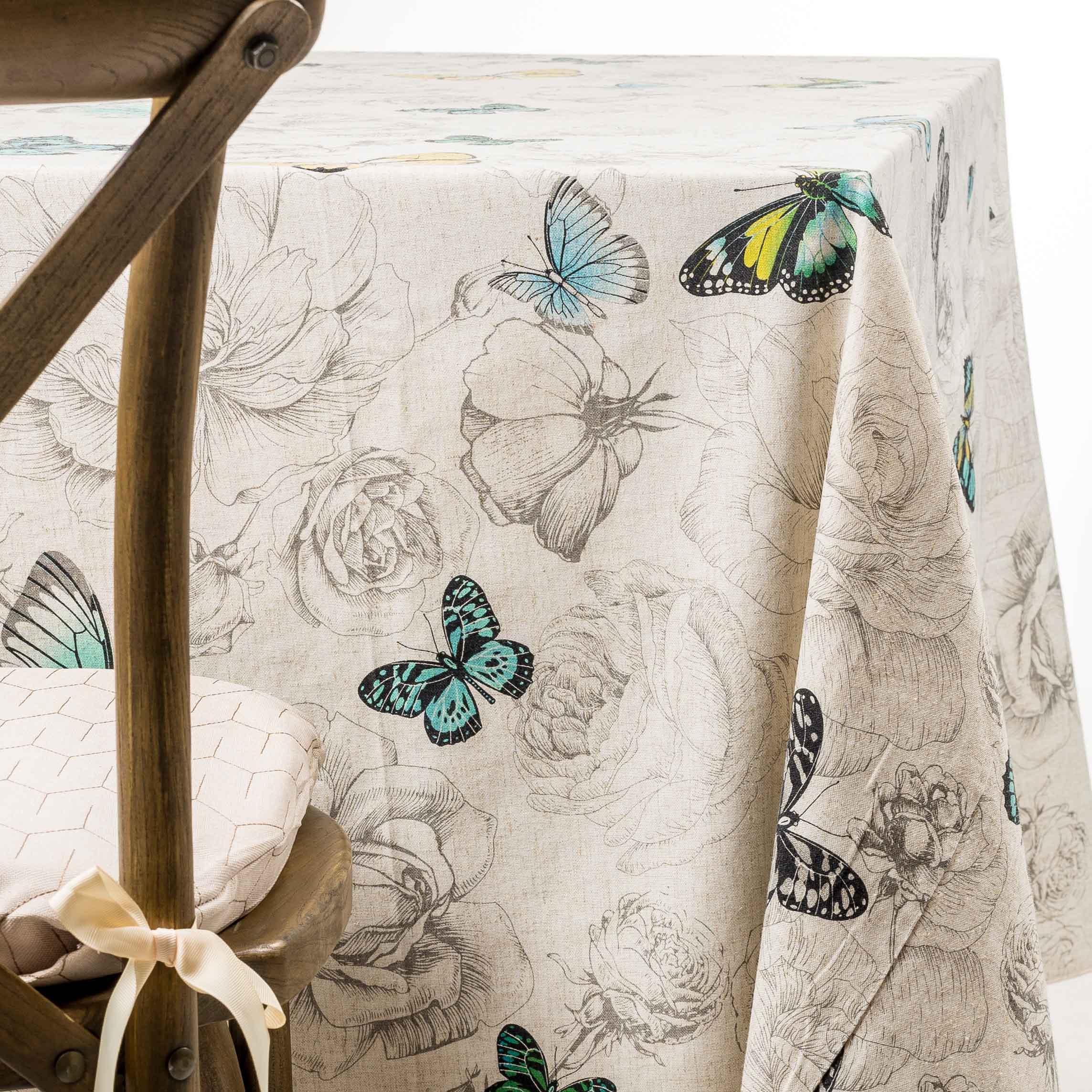 blue butterflies tablecloth