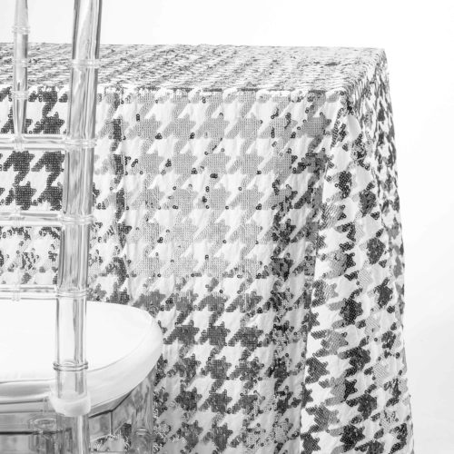 silver mirror houndstooth tablecloth rentals in NJ