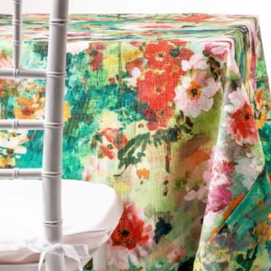 Monet flowers tablecloth rental from the table by chaya sara thau in NJ
