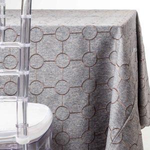 Grey Wool Brown Circles Tablecloth Rentals in NJ