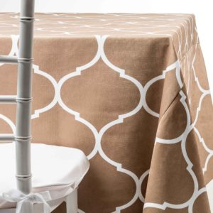 cappuccino geometric Tablecloth wedding rentals