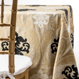 traditional damask tablecloth. Wedding and party tablecloth rentals