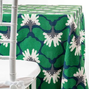 Green Marni Floral Tablecloth Rental for Parties and Weddings in NJ by Chaya Sara Thau
