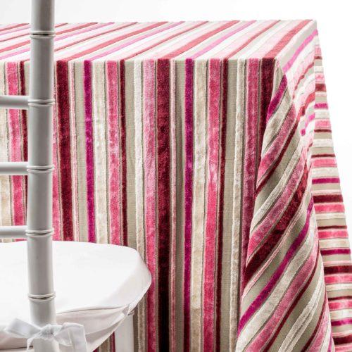 Pink Velvelt Stripes by The Table NJ. Chaya Sarah Thau - Tablecloth and napkin rentals