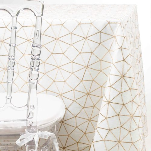 gold web Tablecloth Rental