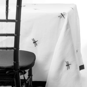 dragonfly organdy tablecloth rentals in New Jersey by Chaya Sara Thau