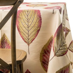 rustic leaves tablecloth rentals in New Jersey. For weddings or parties. Tablecloth and napkin rentals by Chaya Sara Thau