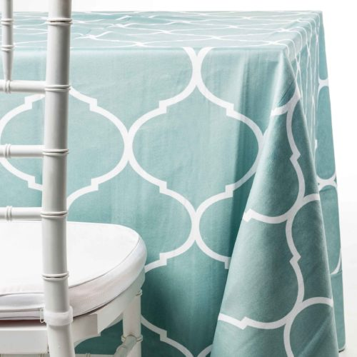 aqua geometric tablecloth rentals in New Jersey. For weddings or parties. Tablecloth and napkin rentals by Chaya Sara Thau