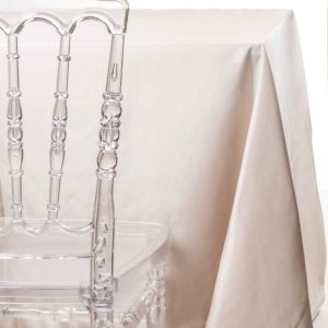 sand tafetta tablecloth rentals in New Jersey. For weddings or parties. Tablecloth and napkin rentals by Chaya Sara Thau