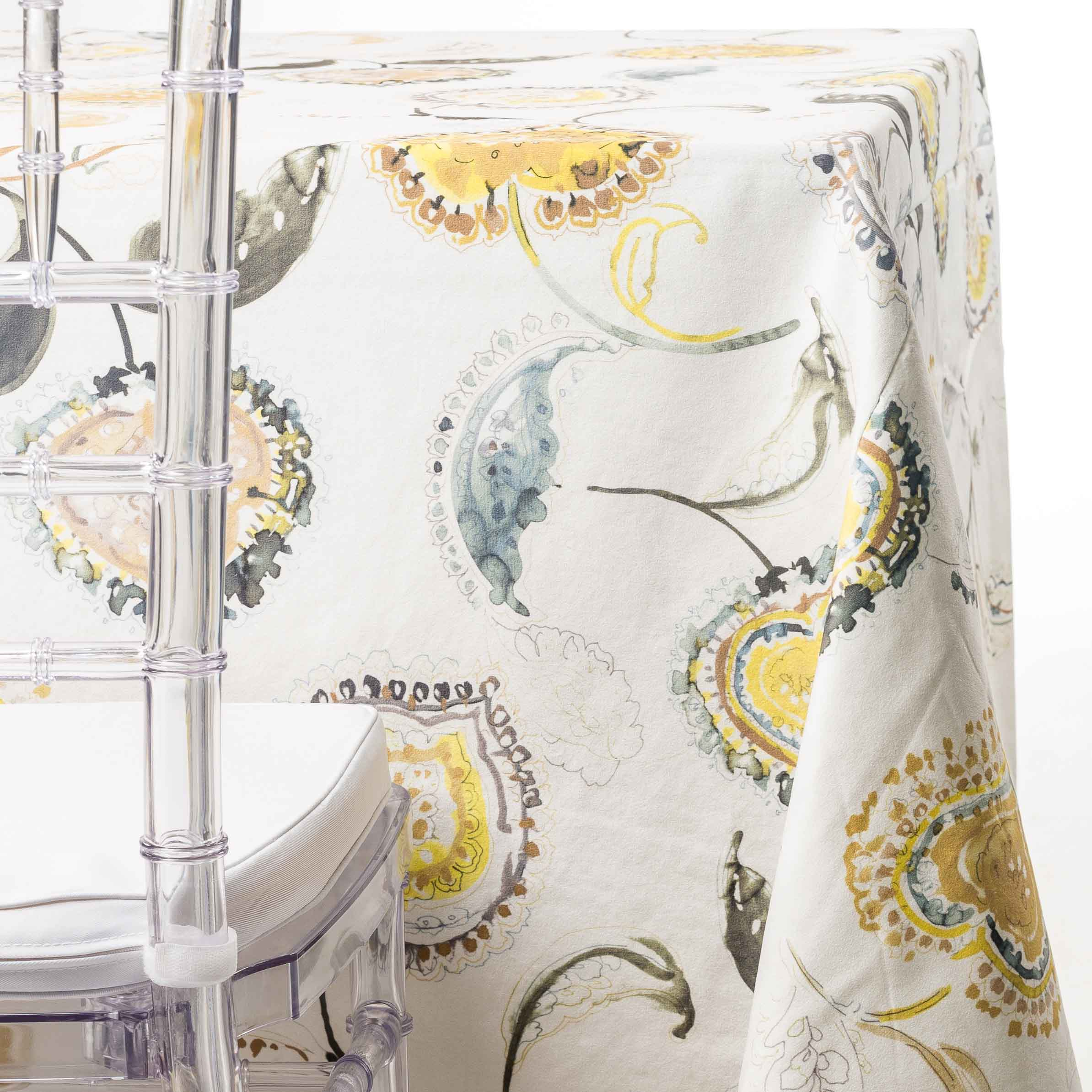yellow paisley tablecloth rentals in New Jersey. For weddings or parties. Tablecloth and napkin rentals by Chaya Sara Thau