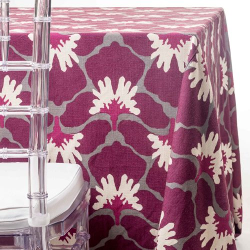 pink Marni flowers tablecloth rentals in New Jersey. For weddings or parties. Tablecloth and napkin rentals by Chaya Sara Thau