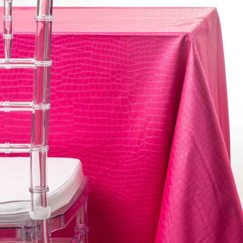 pink crocodile tablecloth rentals in New Jersey. For weddings or parties. Tablecloth and napkin rentals by Chaya Sara Thau
