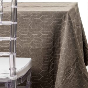 grey quiltedtablecloth rentals in New Jersey. For weddings or parties. Tablecloth and napkin rentals by Chaya Sara Thau