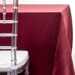 burgundy velvet tablecloth rentals