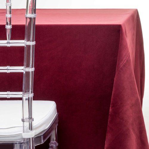 burgundy velvet tablecloth rentals