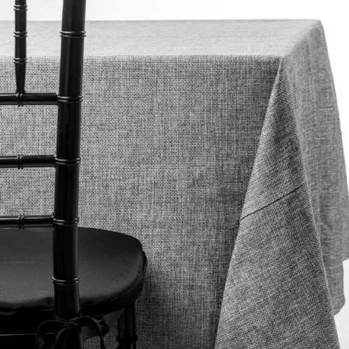 grey burlap tablecloth rentals in New Jersey. For weddings or parties. Tablecloth and napkin rentals by Chaya Sara Thau