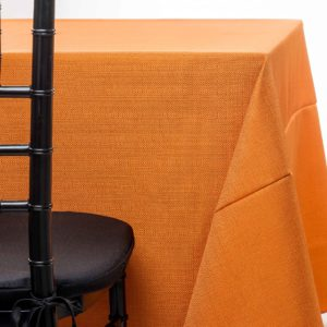 orange pique tablecloth rentals in New Jersey. For weddings or parties. Tablecloth and napkin rentals by Chaya Sara Thau