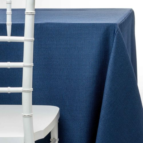 navy pique tablecloth rentals in New Jersey. For weddings or parties. Tablecloth and napkin rentals by Chaya Sara Thau