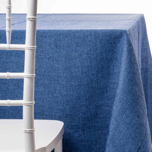 denim burlap tablecloth rentals in New Jersey. For weddings or parties. Tablecloth and napkin rentals by Chaya Sara Thau