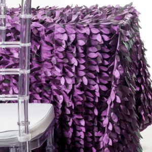purple petals tablecloth rentals in New Jersey. For weddings or parties. Tablecloth and napkin rentals by Chaya Sara Thau