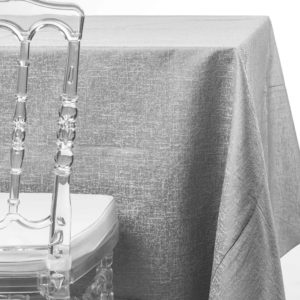 silver twilight tablecloth rentals in New Jersey. For weddings or parties. Tablecloth and napkin rentals by Chaya Sara Thau