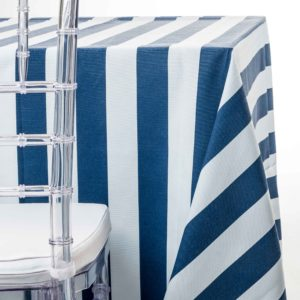 navy awning stripe tablecloth rentals in New Jersey. For weddings or parties. Tablecloth and napkin rentals by Chaya Sara Thau