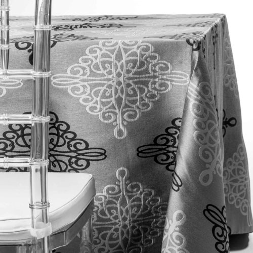 black and silver damask tablecloth rentals in New Jersey. For weddings or parties. Tablecloth and napkin rentals by Chaya Sara Thau